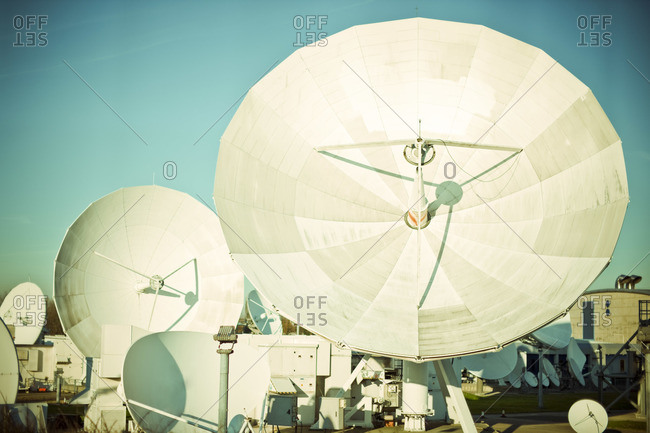 London, England - February 10, 2008: Satellite dishes in Ground Station, North Woolwich, London, England