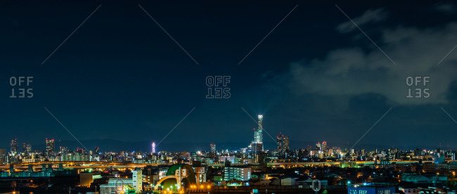 December 3, 2014: Nighttime view of Osaka skyline, Japan