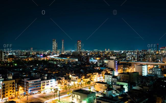 December 7, 2014: Nighttime view of Osaka skyline, Japan