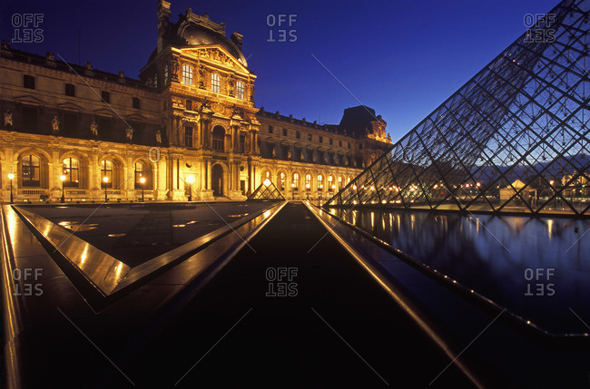 Paris, France - March 26, 2008: The Louvre at night