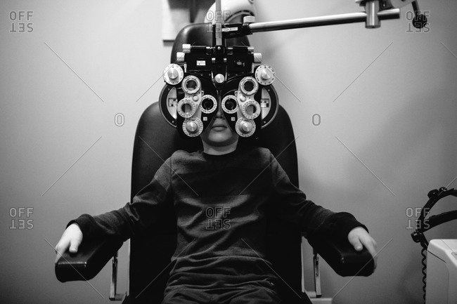 A boy at the eye doctor