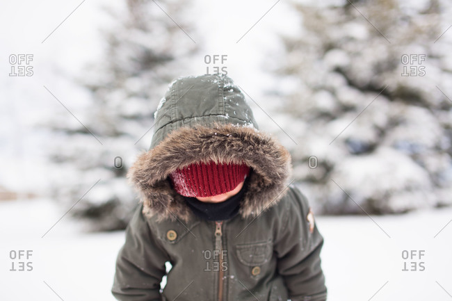 Boy wearing a furry hoodie