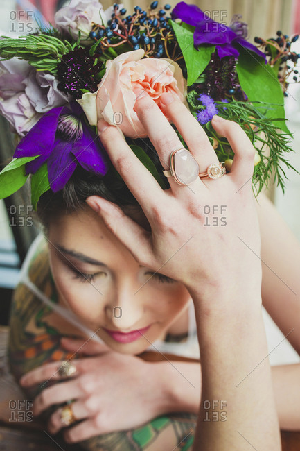 Close up of alternative wedding rings