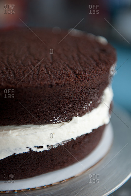 A double layered chocolate cake with vanilla frosting