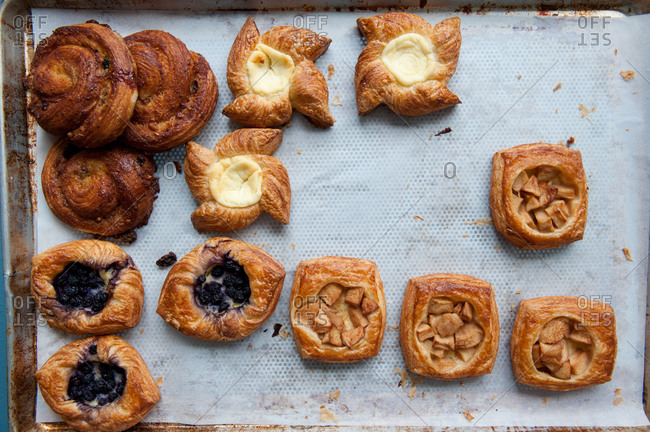 Assorted pastries on a baking tray