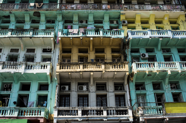Balconies in downtown Yangon, Myanmar