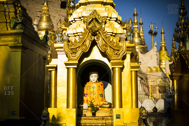 A buddha statue at Asia Shwedagon Pagoda in Yangon, Myanmar