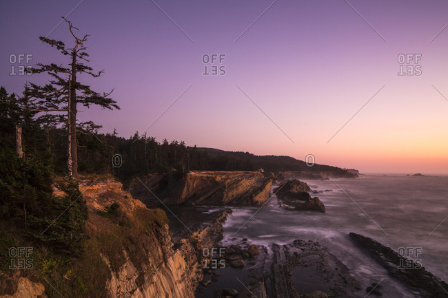 Oregon coastline at sunset