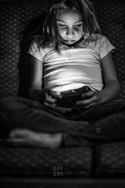 A girl on a smartphone
