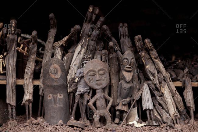 Wood carved figures for sale at a market in Tanzania