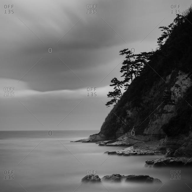 Cliff and sea rocks at Inamuragasaki, Kanagawa Prefecture, Japan
