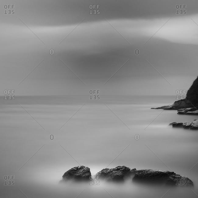 Cliff and sea rocks at Inamuragasaki, Japan