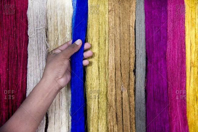 Dyed raw silk strands, Siem Reap, Cambodia