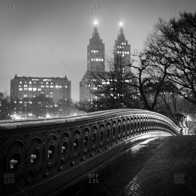 Bow Bridge in Central Park at night