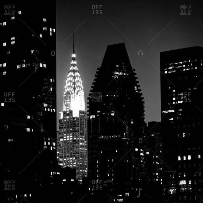 New York, NY, USA - August 22, 2012: The Chrysler Building illuminated at night
