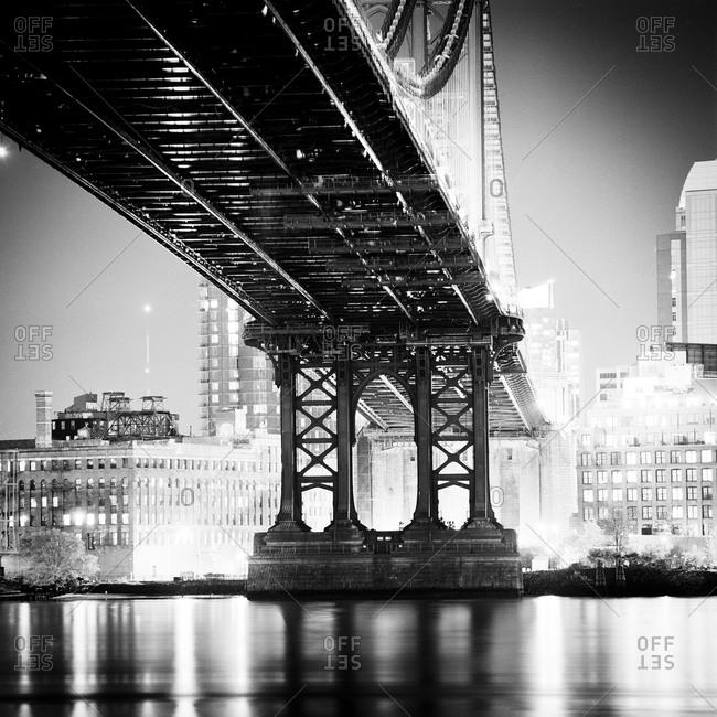 The bottom of the Manhattan Bridge