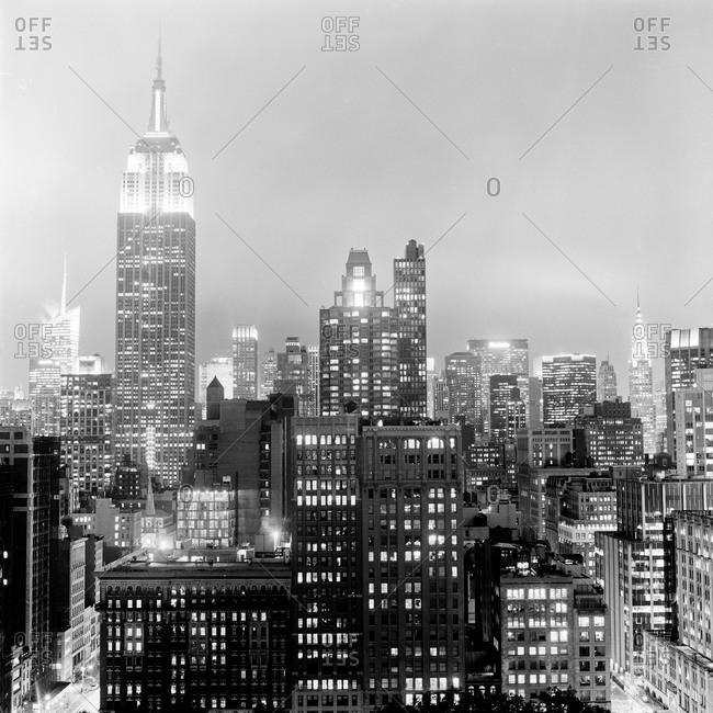 New York, NY, USA - October 25, 2012: New York City's Manhattan skyline at night