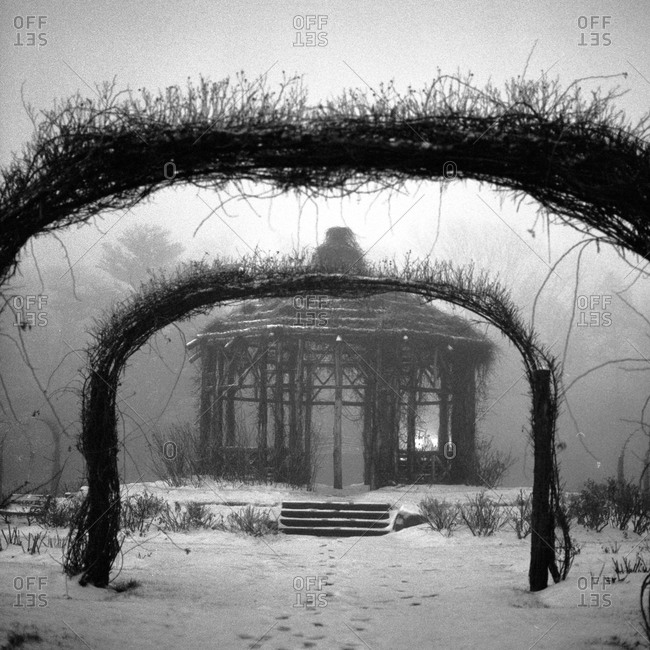 A wooden pagoda in the snow in Hartfort, Connecticut