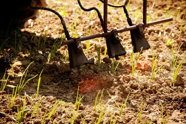 Machinery sterilizing soil with heat