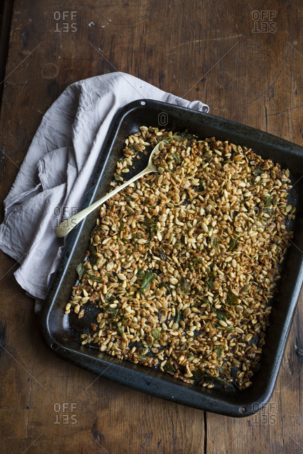Home-made granola with herbs