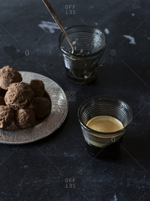 Truffles served with coffee