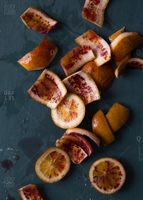 Studio shot of sliced blood oranges