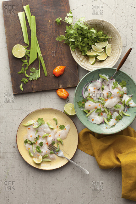 Ceviche with habanero and celery
