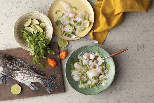 Ceviche with cilantro and lime