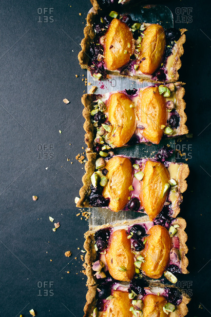 Baked apricot blueberry pistachio tart