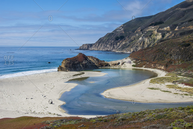 Big Sur river flowing out into the Pacific Ocean at Andrew Molera State Park south of Monterey, CA, Big Sur, California