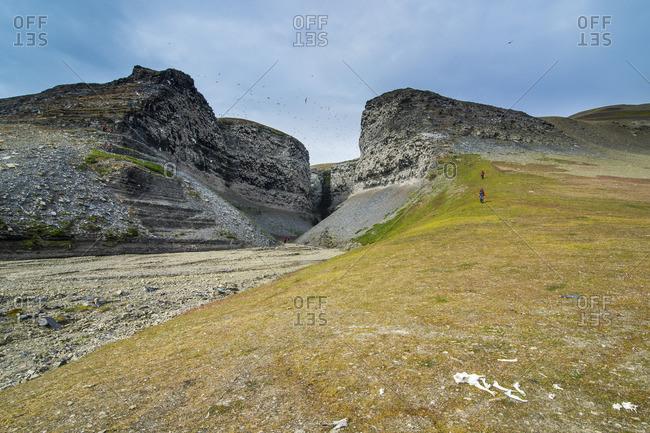 Unique sandstone formation in a barren landscape on Freemansundet, Svalbard