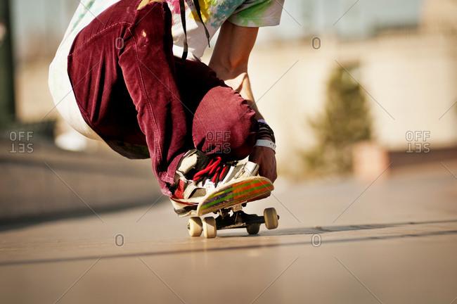 Ground level view of skater on skateboard