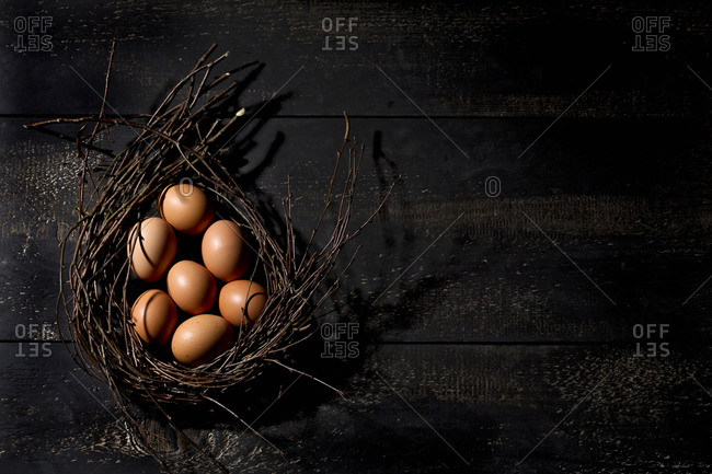 Brown easter eggs in a nest on dark ground