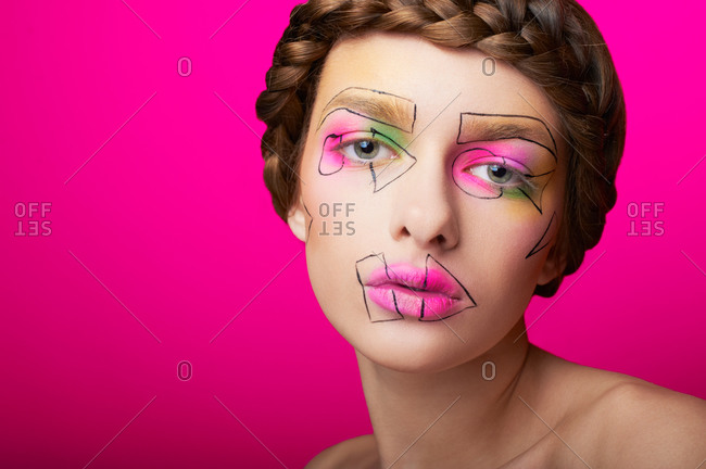 Studio shot of a woman with cubism abstract make up