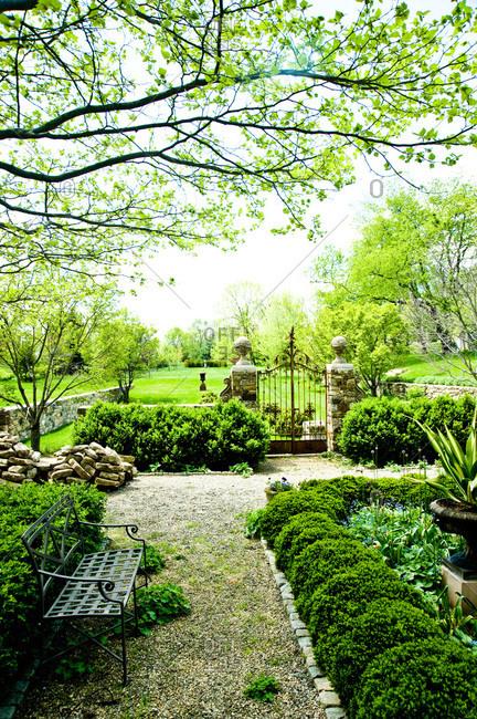 Garden with iron gates in