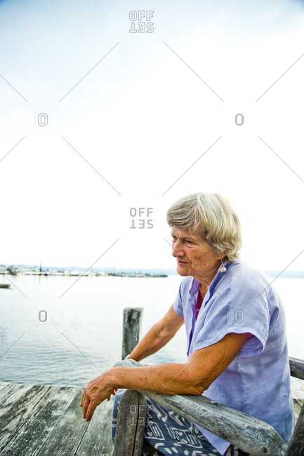Piermont, NY, USA - August 6, 2010: Joan Gussow looking out to the Hudson river