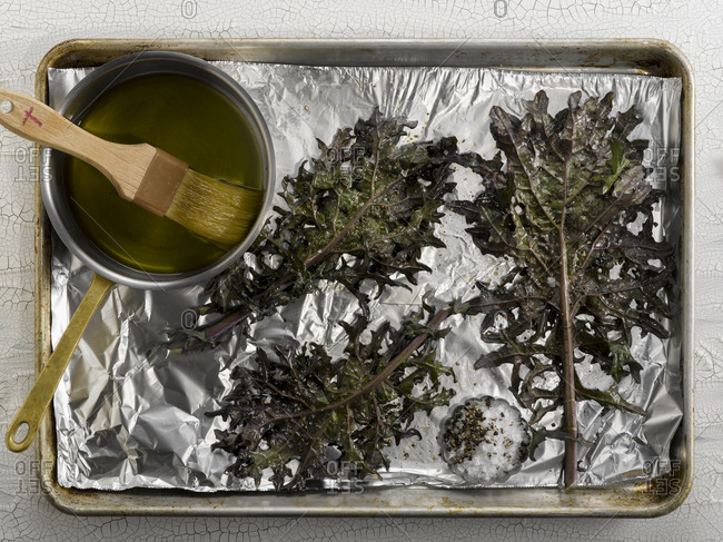 Kale on a baking pan