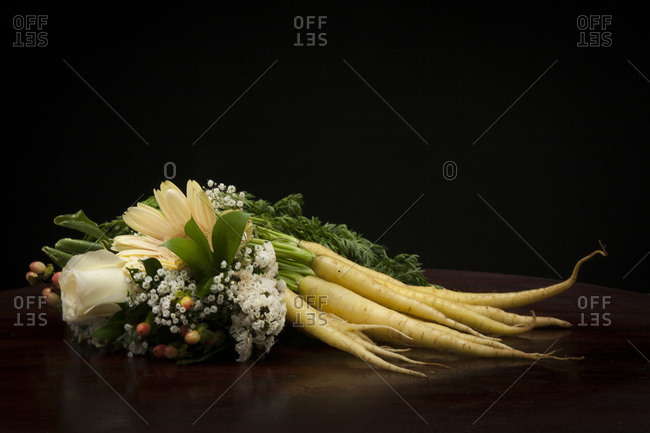 Parsnip and a bouquet of flowers