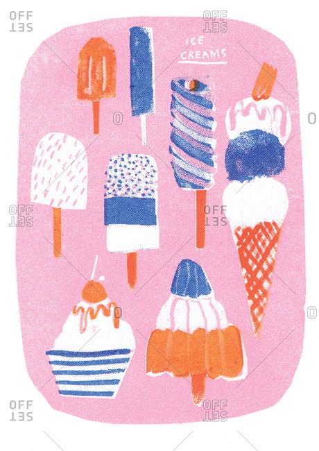 Illustration of frozen desserts