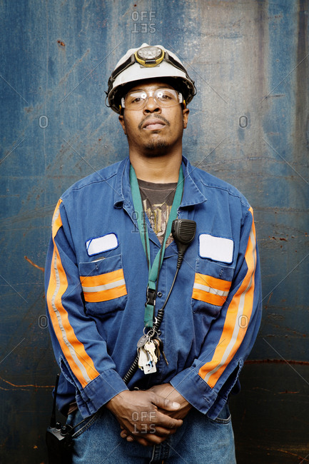 An industrial worker at a recycling plant