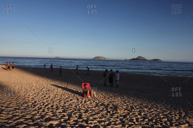 Rio De Janeiro, Brazil - July 10, 2010: Woman sunbathing on Ipanema beach