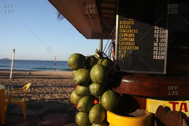 Coconuts at a kiosk on Ipanema beach