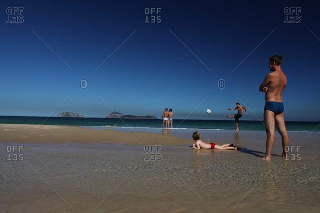 Rio De Janeiro, Brazil - July 11, 2010: People relaxing on Ipanema beach