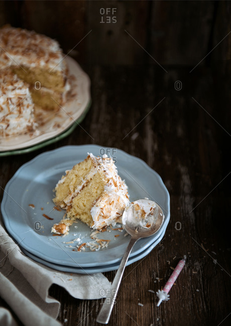 Slice of hazelnut and coconut cake