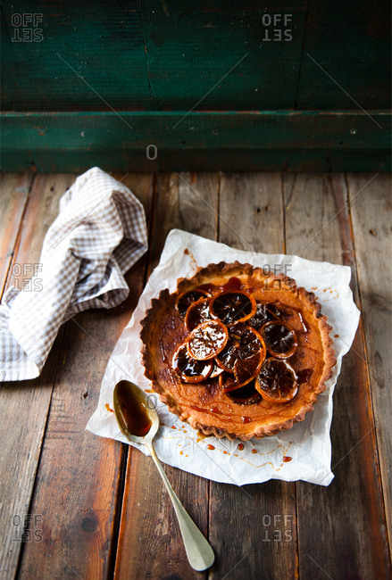Tart with candied orange topping