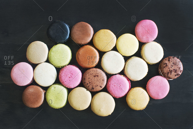 A variety of macarons