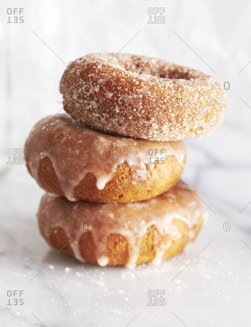 Stack of three donuts