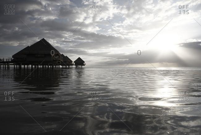 View of a stilt house on a coast