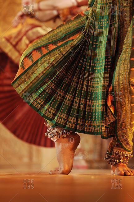 Leg of a Bharatanatyam dancer