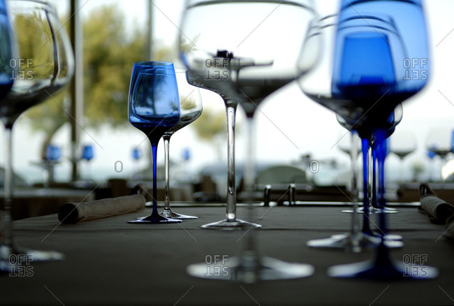 Empty glasses on a tabletop